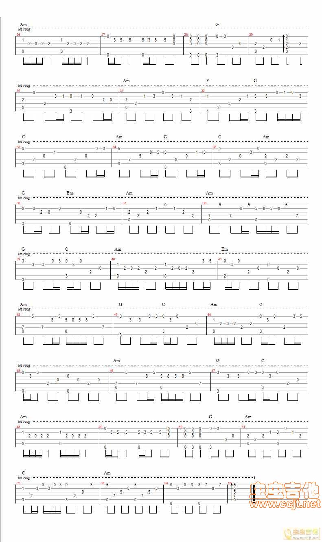调GTP六线 独奏吉他谱 虫虫吉他谱免费下载