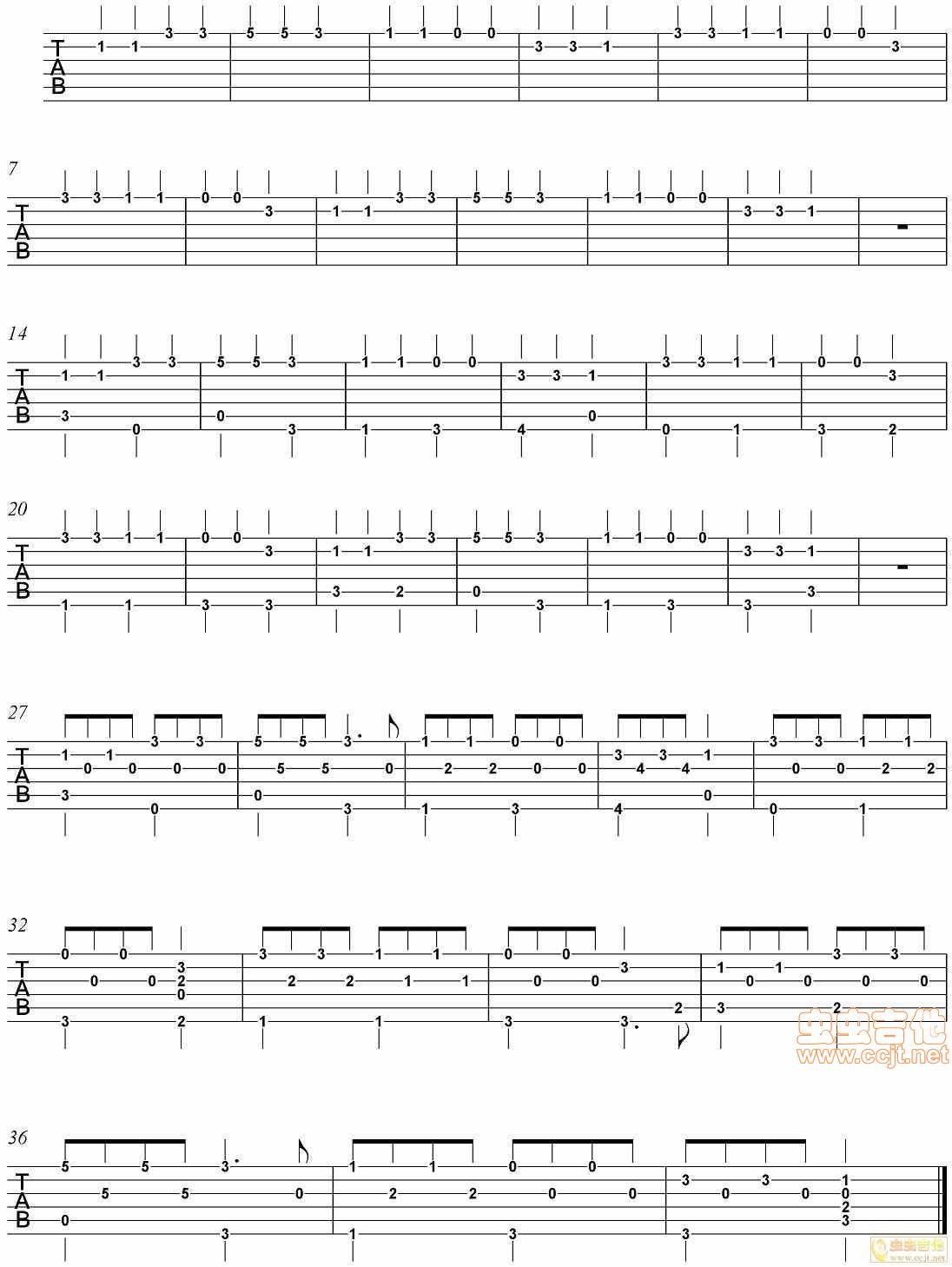 小星星吉他谱 第1页