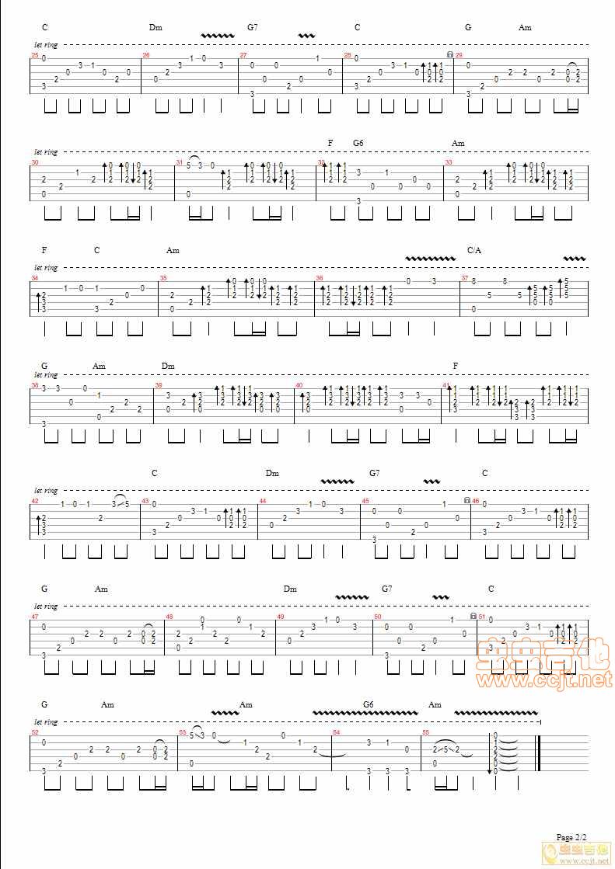 倩女幽魂 吉他指弹谱C调六线 独奏吉他谱 虫虫吉他谱免费下载