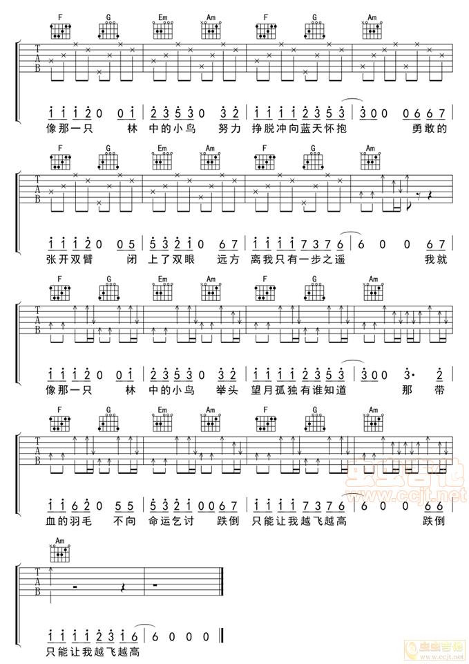 林中鸟C调六线吉他谱 虫虫吉他谱免费下载