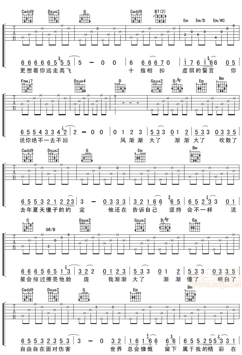 迪克牛仔好听的歌_傻子的约定G调六线吉他谱-虫虫吉他谱免费下载