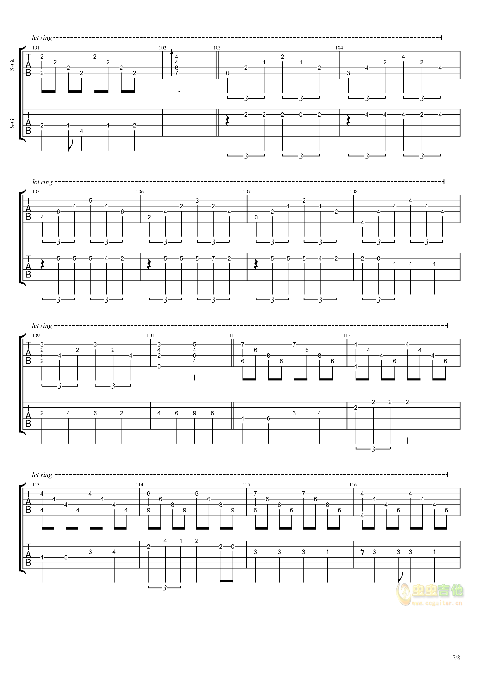 祝福五线曲谱-李荣浩 吉他谱 虫虫吉他谱