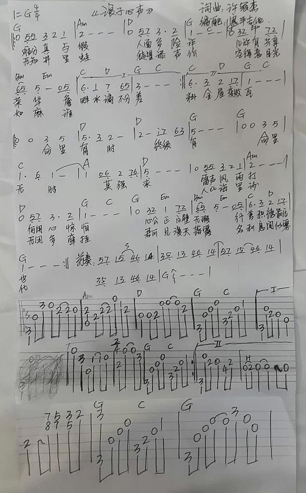 浪子心声 粤语歌曲调六线吉他谱-虫虫吉他谱免费下载