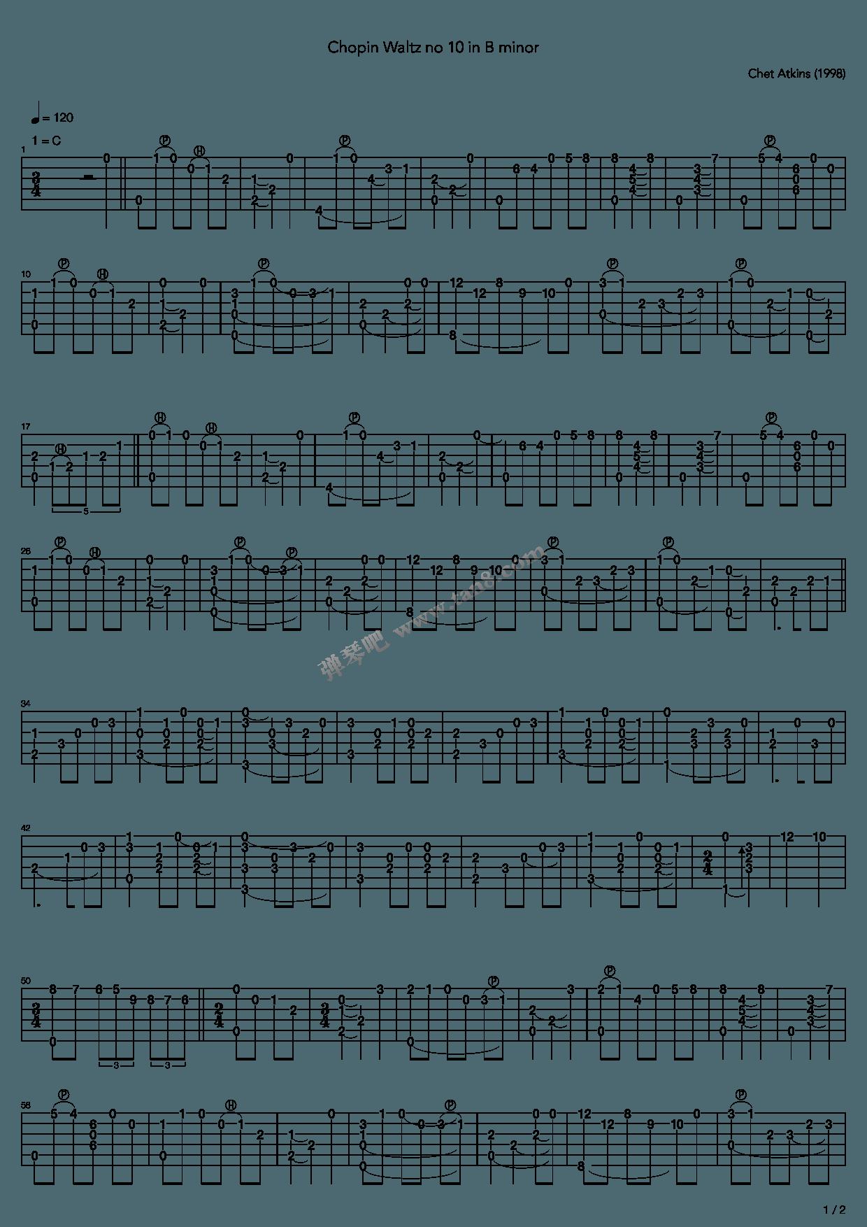 Chopin Waltz No 10 In B Minor》,Chet Atkins( 调六线吉他谱-虫虫吉他